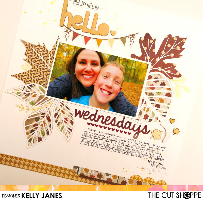 The Cut Shoppe Fall Themed Layout using the Leaf It To Me Cut File, Simple Stories, and Oakley Avenue