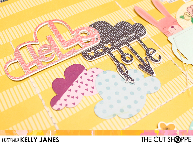 12x12 Design Team scrapbook layout for The Cut Shoppe using the April Showers Cut File & Shimelle Little By Little Collection