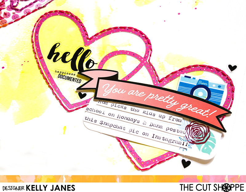 12x12 Scrapbook layout using Amy Tangerine On A Whim & Simple Stories Carpe Diem Posh stickers with The Cut Shoppe Heart Eyes Cut File.