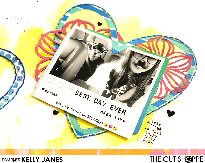 12x12 Scrapbook layout using Amy Tangerine On A Whim & Simple Stories Carpe Diem Posh stickers with The Cut Shoppe Heart Eyes Cut File