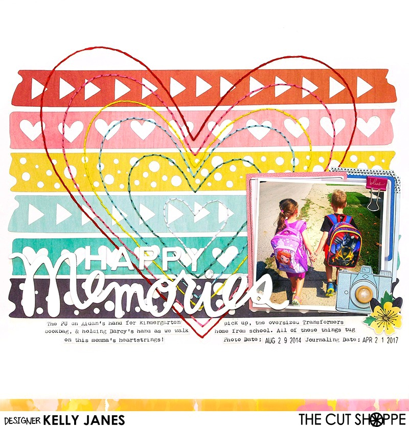 12x12 Design Team layout for The Cut Shoppe using the Washi Love & Follow Your Heart Cut Files, American Crafts Shimelle Little By Little Collection, Pink Paislee C'est La Vie mirror word, elements from Heidi Swapp and a lot of hand stitching