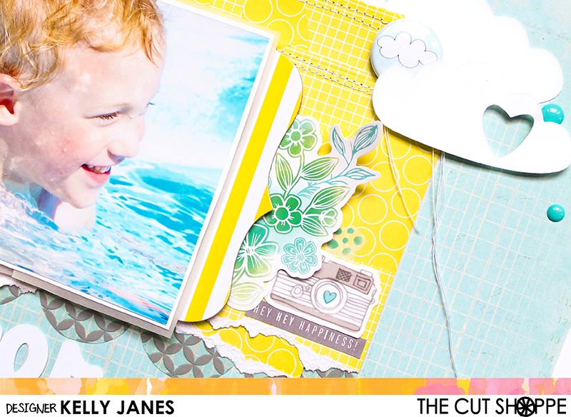 12x12 Design Team Scrapbook Layout for The Cut Shoppe using the Happy Little Clouds Cut File & Let's Do Summer Cut File. Products Used: Heidi Swapp-Serendipity. Pretty Little Studio Here Comes the Sun flair, Amy Tangerine Yes, Please Collection.