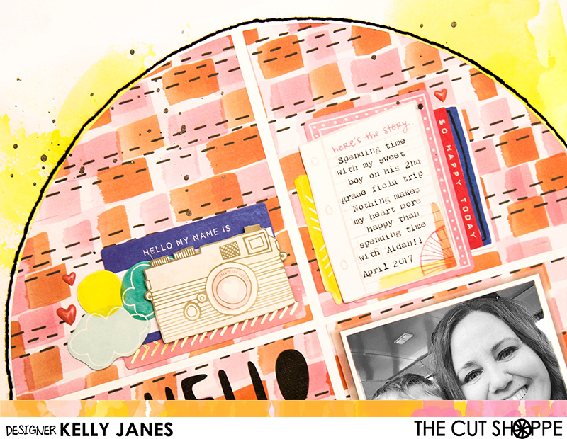 12x12 Design Team scrapbook layout for The Cut Shoppe. Mixed media from Shimmerz Paints, Amy Tangerine patterned papers and die cuts.