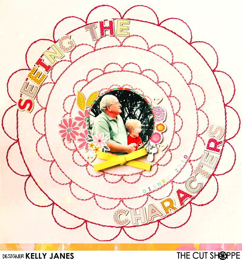 12x12 Cut Shoppe Design Team layout using the Spiral Scallop Cut File as a guide for the hand stitching. Maggie Holmes Bloom patterned paper and Pink Paislee-Paige Evans Oh My Heart & Take Me Away Collections.