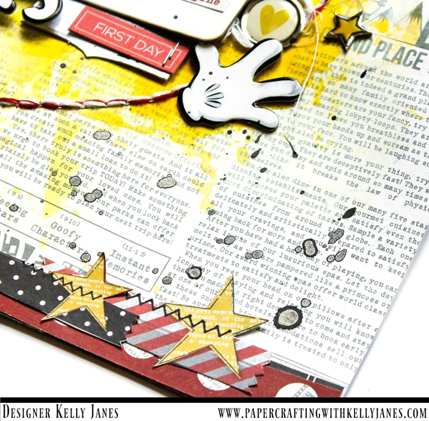 12x12 Disney themed scrapbook layout using Simple Stories Say Cheese I & Say Cheese II + other Disney themed items