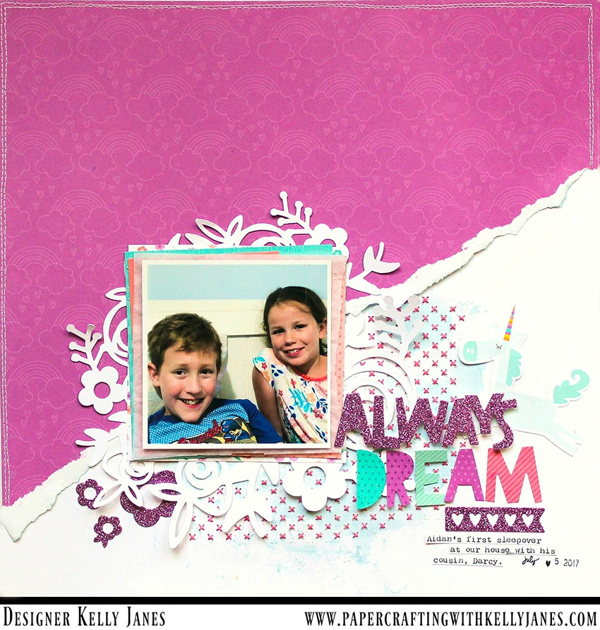 12x12 Scrapbook Layout using the CTMH Little Dreamer Paper Packet and Complements
