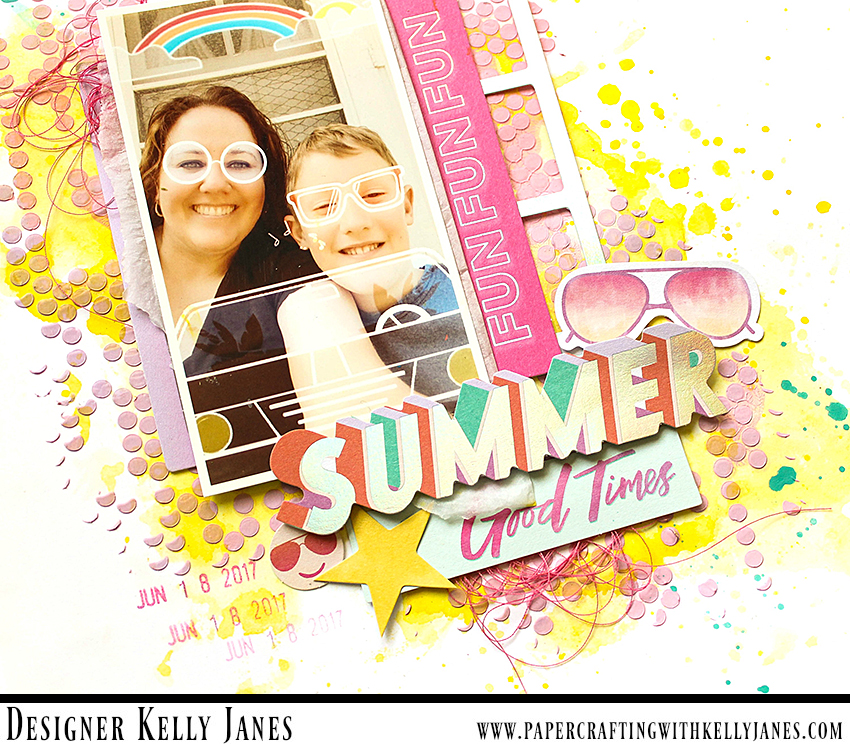 12x12 scrapbook layout featuring the Pink Paislee Summer Lights Collection.