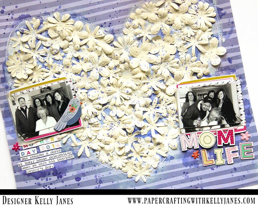 12x12 scrapbook layout using paper flowers from CTMH and the Pink Paislee Oh My Heart Collection designed by Paige Evans.