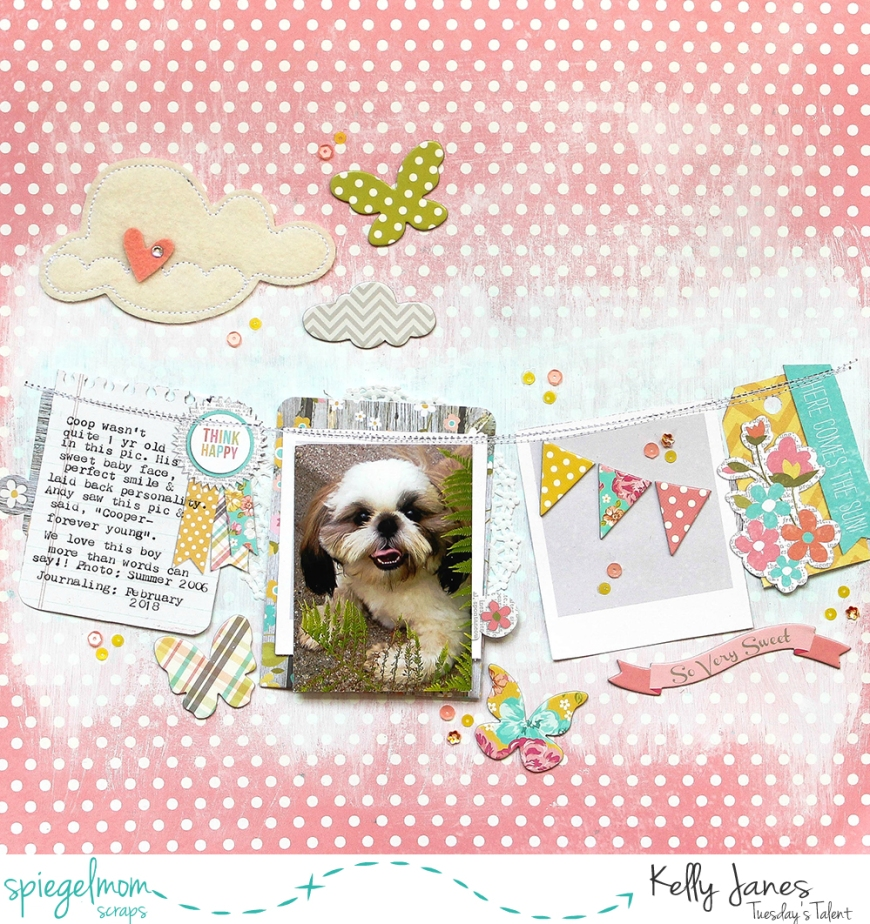 12x12 scrapbook layout using the Simple Stories Vintage Bliss Collection, a few items from my stash & Spiegelmom Scraps Sequins
