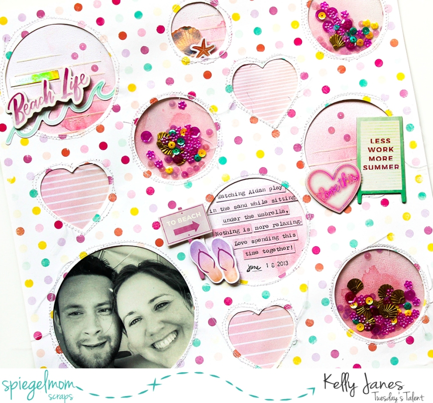 12x12 shaker pocket scrapbook layout using the Pink Paislee Summer Lights Collection & Spiegelmom Scraps Sequins.
