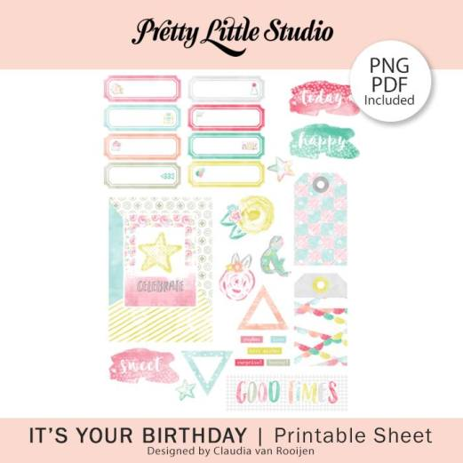 Pretty Little Studio - It's Your Birthday Free Printable (available until 4/3/18)