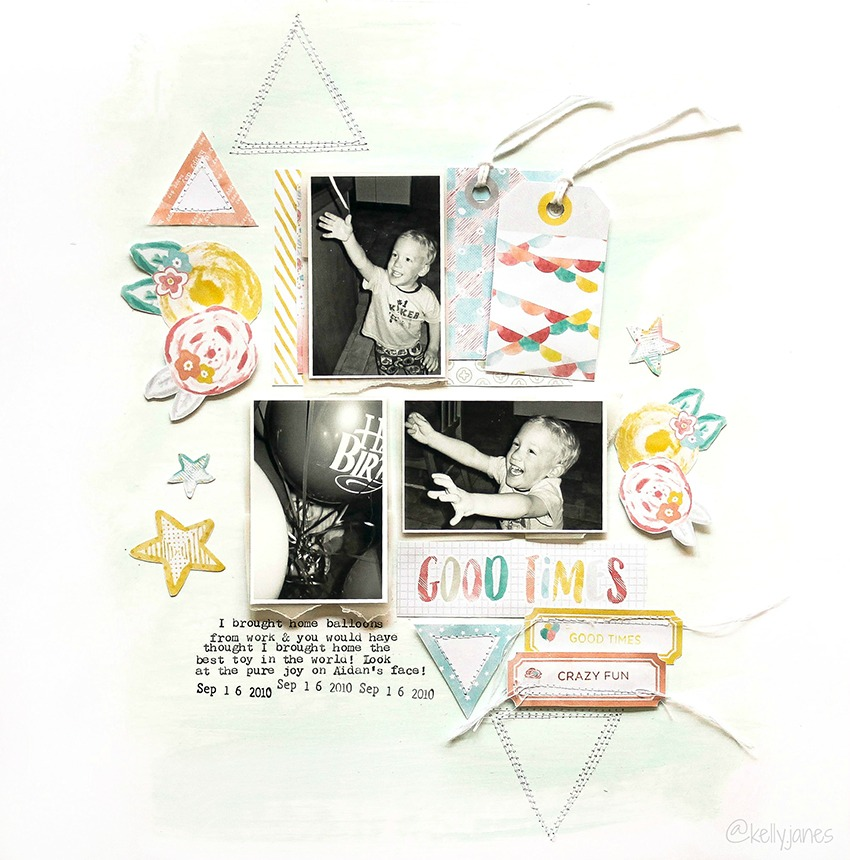 12x12 scrapbook layout using the It's Your Birthday free printable from Pretty Little Studio.