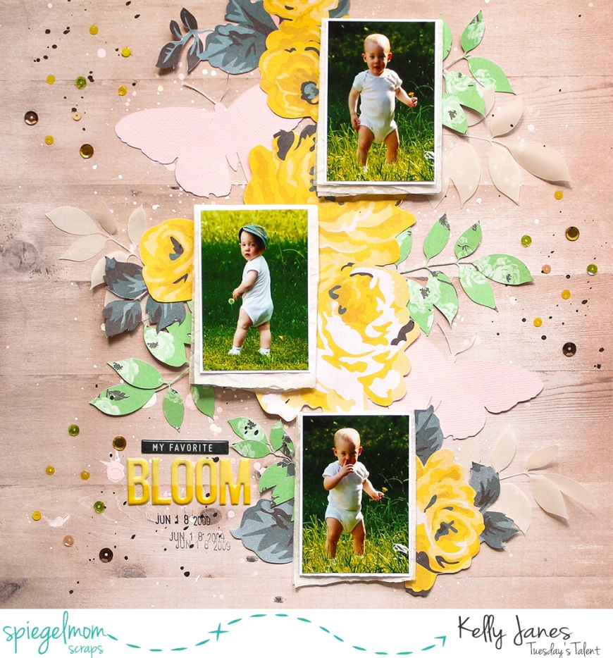 12x12 scrapbook layout using the Crate Paper Maggie Holmes Bloom Collection + the Sunflower Fields Sequin Mix from Spiegelmom Scraps.