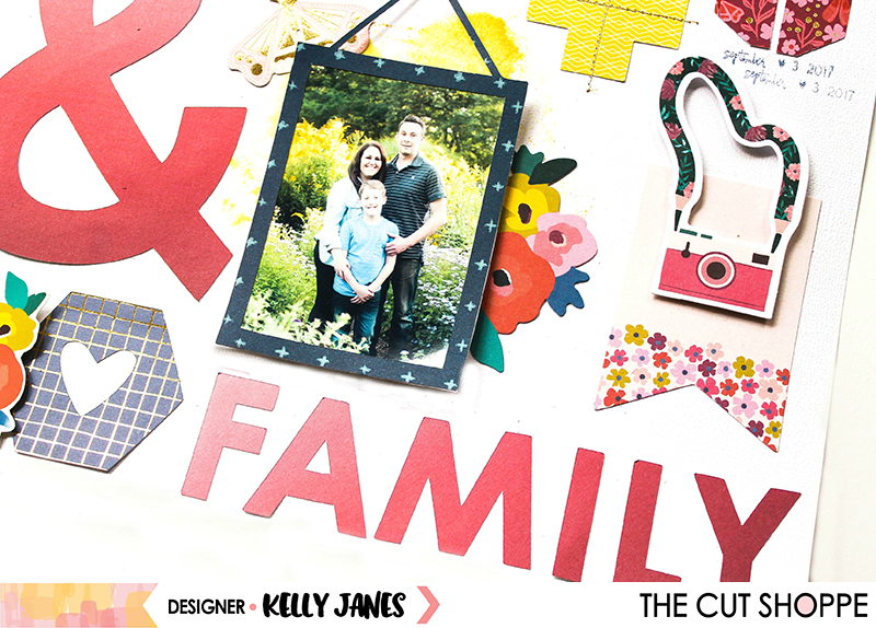 12x12 scrapbook layout using The Cut Shoppe Gallery Wall Cut File & the Pink Paislee Paige Evans Pick Me Up Collection.