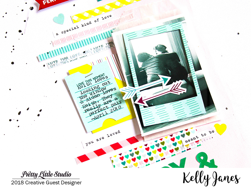 12x12 scrapbook layout using the Pretty Little Studio XOXO Collection.