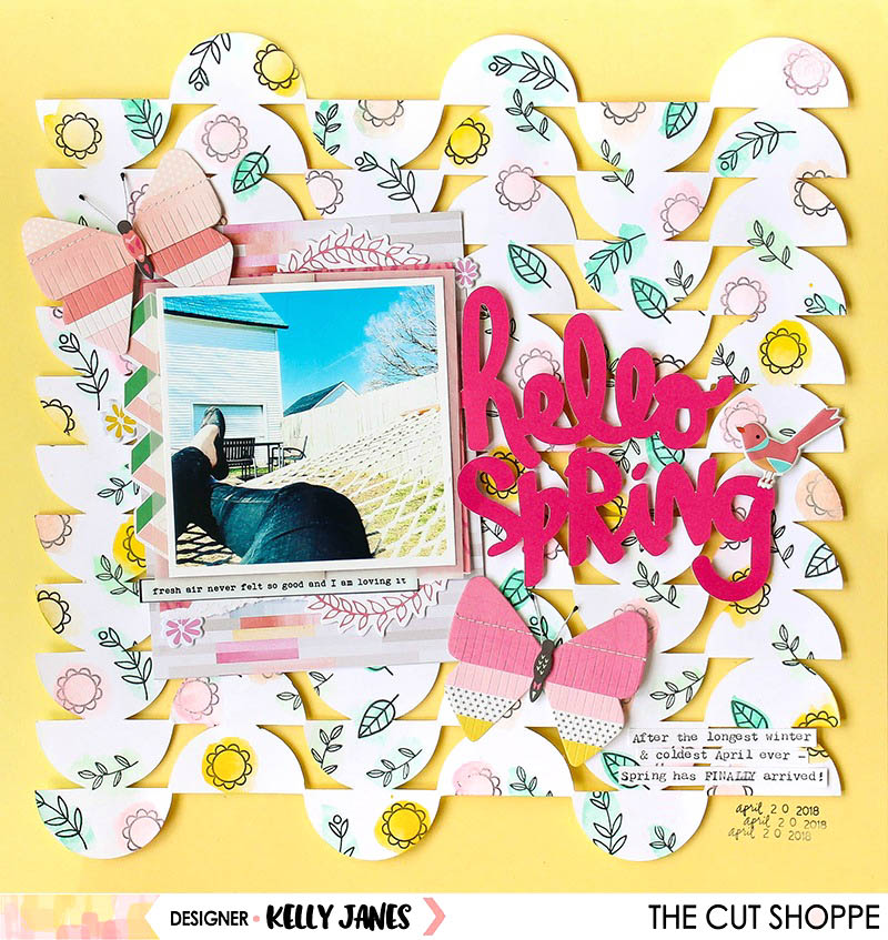 12x12 scrapbook layout for The Cut Shoppe Design team using the Up & Down Background Cut File & the Spring Fever Cut File, Maggie Holmes Butterflies, and lots of Pinkfresh Studio product.