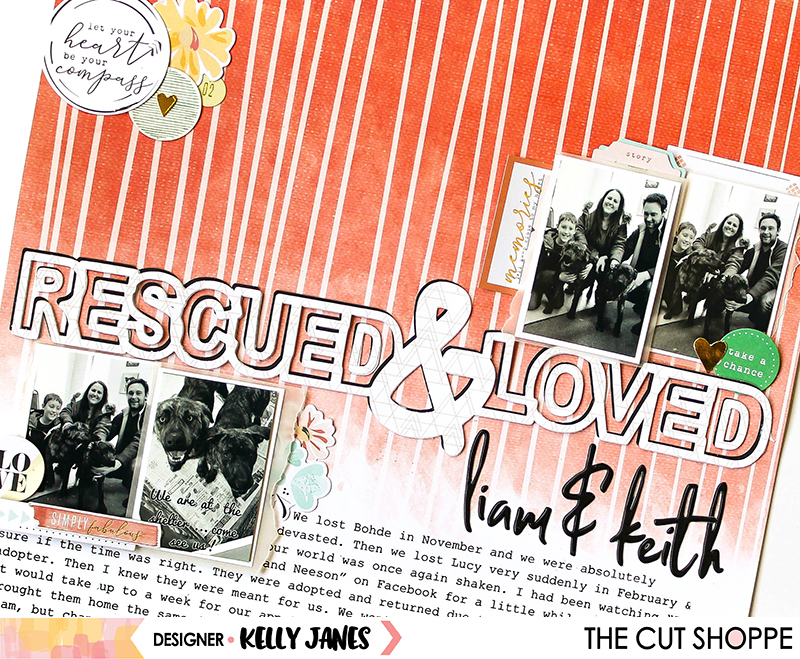 12x12 pet themed scrapbook layout for The Cut Shoppe Design Team using the Give a Dog a Bone Cut File & the Pinkfresh Studio Let Your Heart Decide & Dream On Collections.