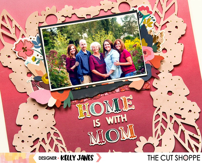 12x12 scrapbook layout for The Cut Shoppe using the Wreathed in Love Cut File & the Pink Paislee Paige Evans Pick Me Up Collection.
