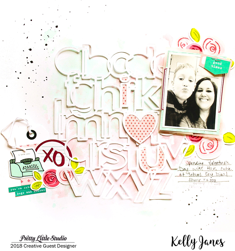 12x12 scrapbook layout using the Pretty Little Studio XOXO Collection & the Little Letters Cut File from The Cut Shoppe.