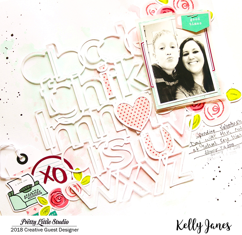 12x12 scrapbook layout using the Pretty Little Studio XOXO Collection & the Little Letters Cut File from The Cut Shoppe