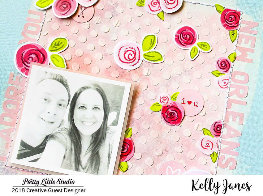 12x12 mixed media scrapbook layout using the Pretty Little Studio XOXO Collection designed by Hello Heather.