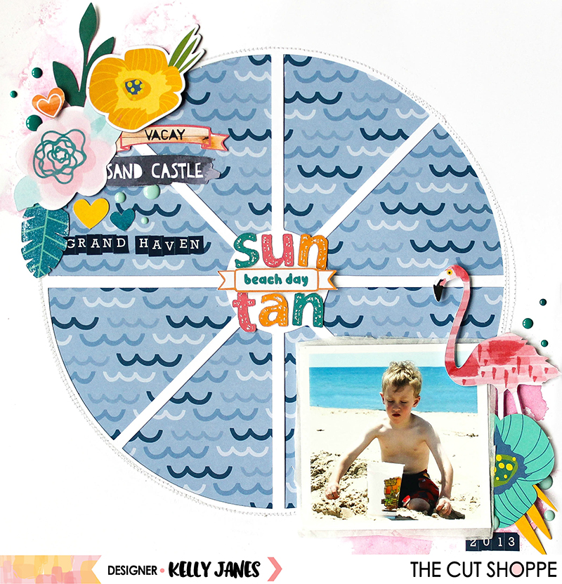 12x12 scrapbook layout for The Cut Shoppe Design Team using the Summer Sizzle Print Then Cut & Bella Blvd Island Escape Collection.