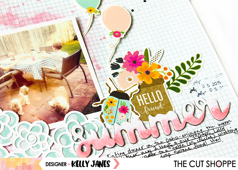 12x12 scrapbook layout for The Cut Shoppe using the Flower Garden Cut File & Pebbles Patio Party Collection.