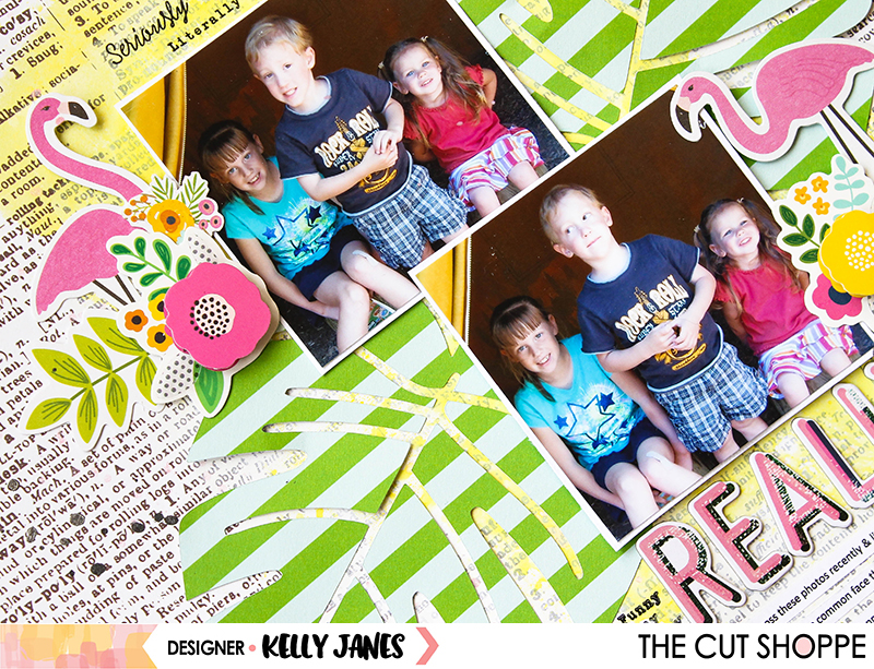 12x12 scrapbook layout for The Cut Shoppe using the Summer Vibes Cut File & the Pebbles Patio Party Collection.