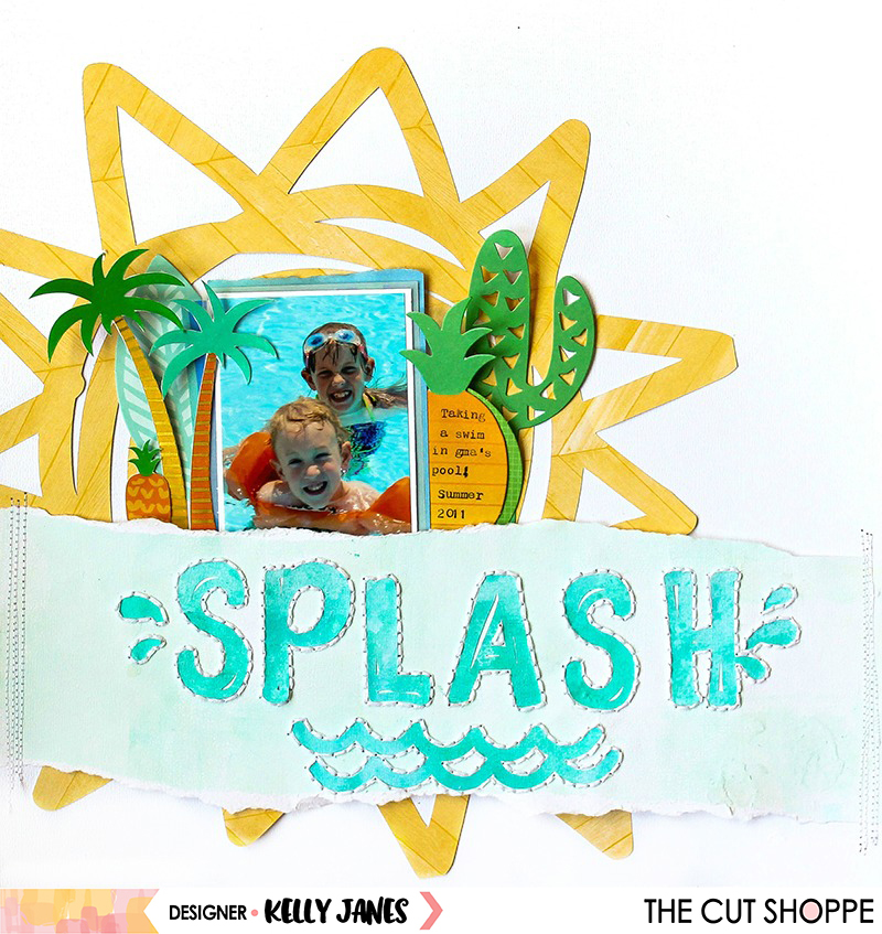 12x12 layout using the Make a Splash Cut File from The Cut Shoppe & multiple Amy Tangerine Collections.