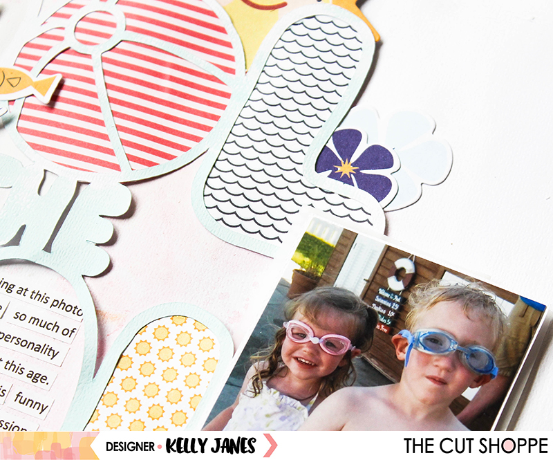 12x12 layout using The Cut Shoppe Cool in the Pool Cut File & the Fancy Pants Poolside Collection.