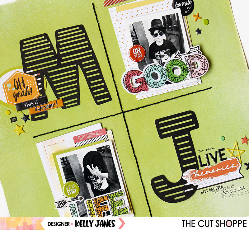 12x12 scrapbook layout for The Cut Shoppe using the Thin Line Alpha.