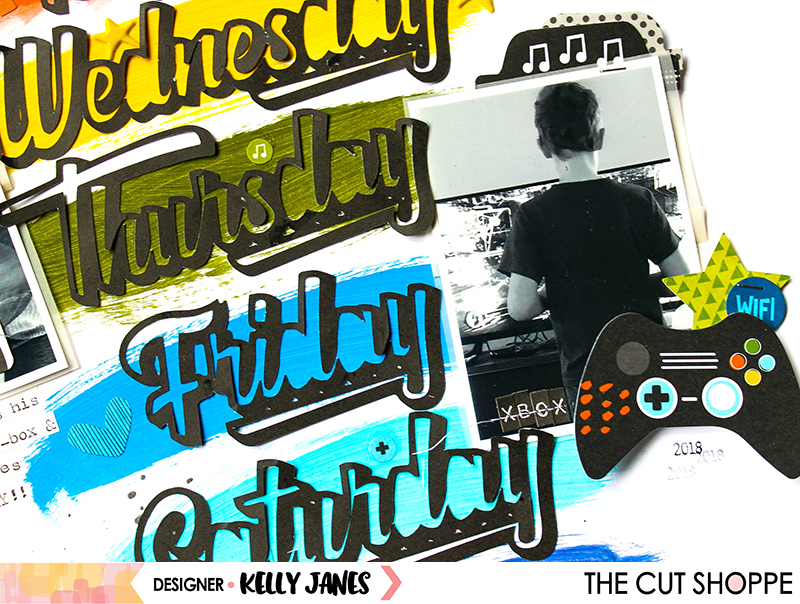 12x12 scrapbook layout for The Cut Shoppe Design Team using the Better Days Cut File & the Bella Blvd Alex Collection.