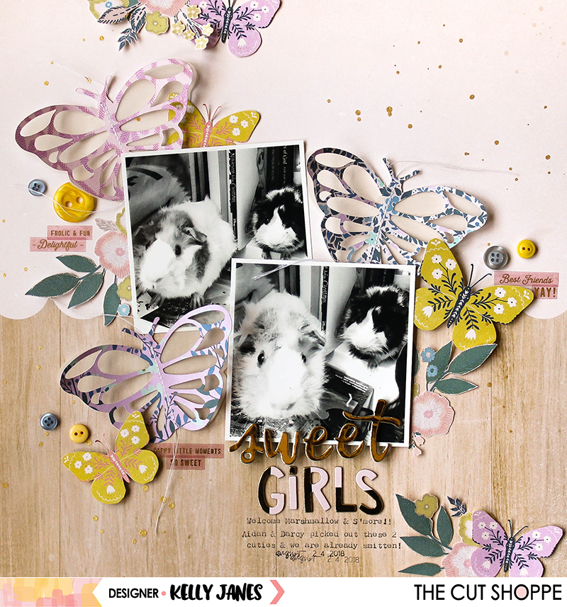 12x12 layout for The Cut Shoppe Design Team using the Flutterby Cut File & the Maggie Holmes Willow Lane Collection.