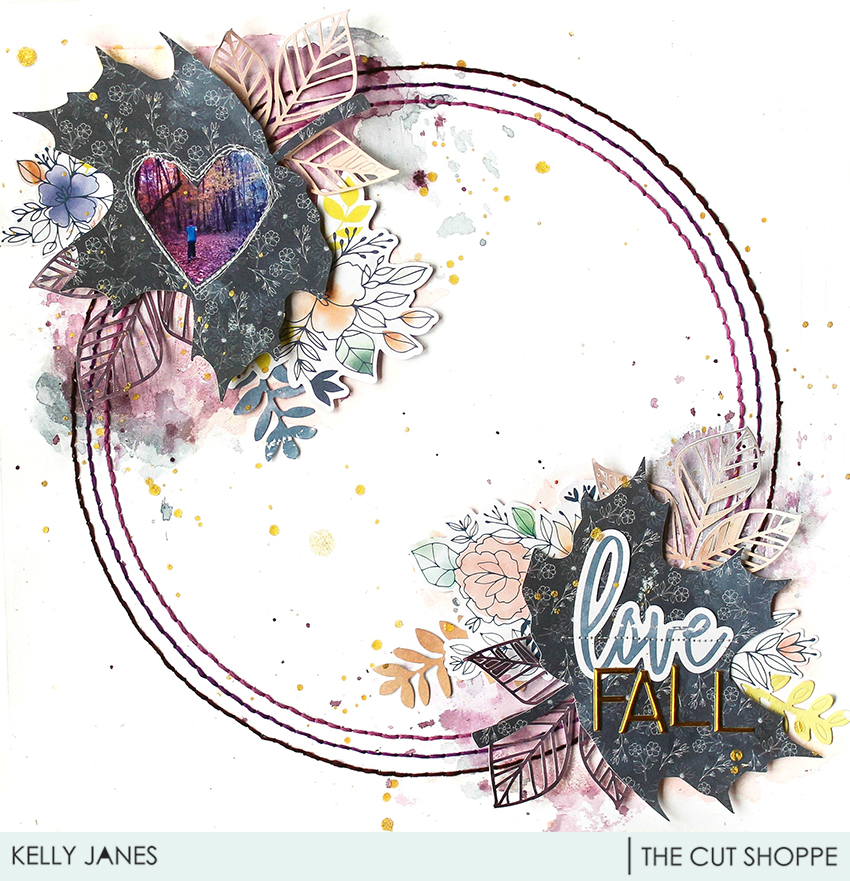 12x12 scrapbook layout for The Cut Shoppe Design Team using the Fall Foliage & Leaf It to Me Cut File with the Pinkfresh Studio Indigo Hills 2 Collection.