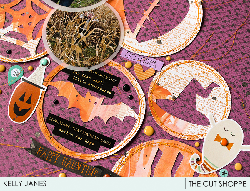 12x12 Halloween layout for The Cut Shoppe Design Team using the Wicked Good Cut File.