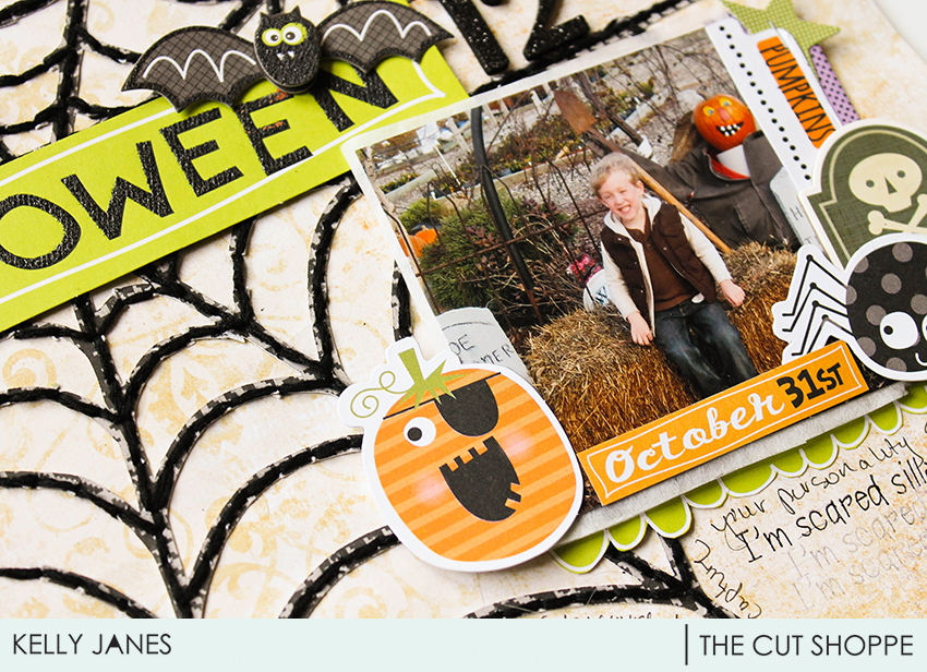 12x12 Halloween layout for The Cut Shoppe Design Team using the Haunted House Cut File.