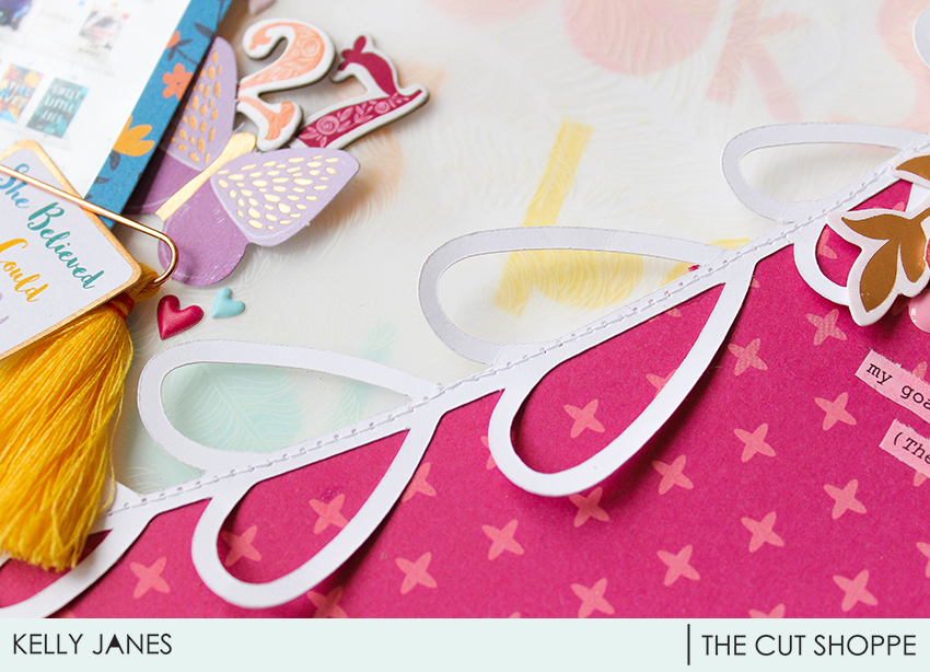12x12 scrapbook layout for The Cut Shoppe Design Team using the Freebie Friyay With Love Cut File & Pink Paislee Paige Evans Whimsical Collection.