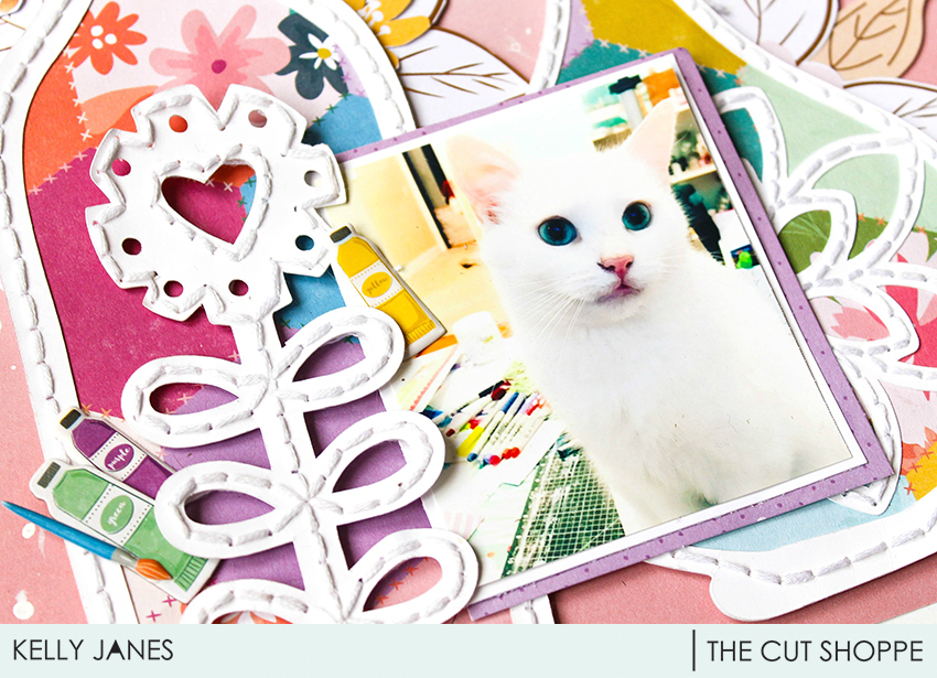 12x12 scrapbook layout for The Cut Shoppe Design Team using the Pretty Pottery Cut File & Pink Paislee Paige Evans Whimsical Collection.