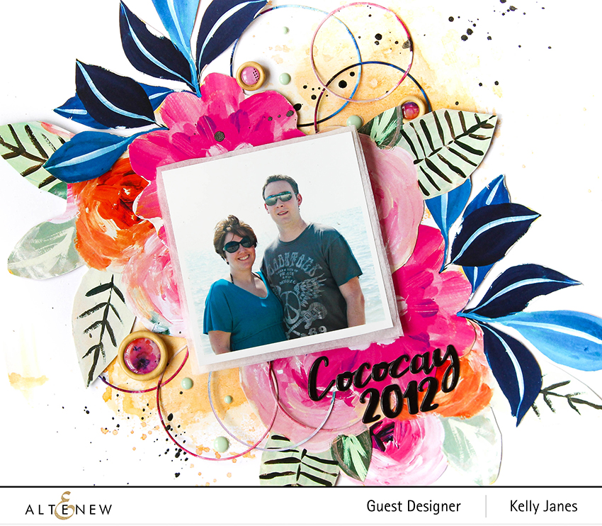 12x12 scrapbook layout for Altenew using the Alluring Blooms Paper Pack-Kelly Janes