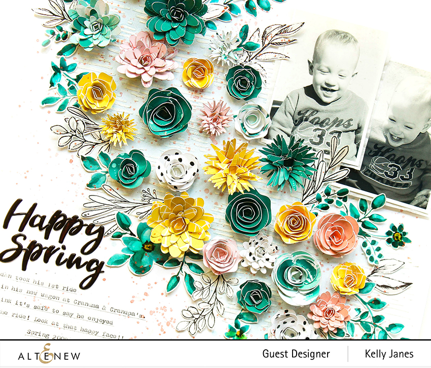 12x12 scrapbook layout using the Altenew Washi Tape & Verdant Walk Patterned Paper.
