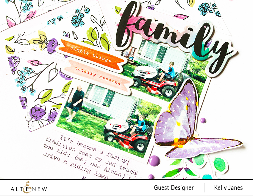 Altenew - Watercolor Doodles Stamp Set - Live Your Dream - Our Family - Kelly Janes