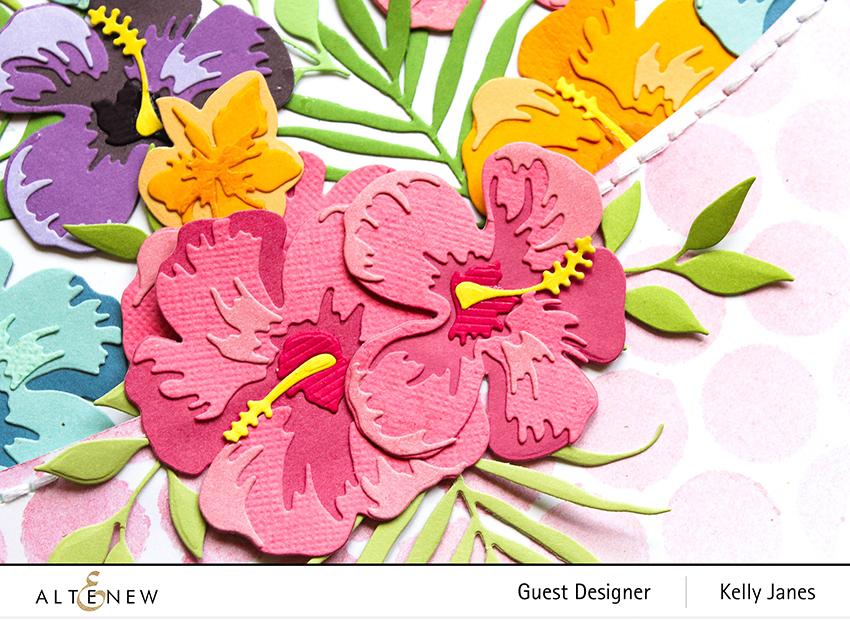 Altenew- Bubble Wrap Stencil - Hibiscus 3D Flower Die - Kelly Janes