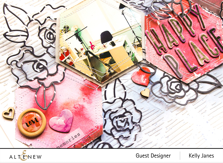 12x12 scrapbook layout using Altenew Wavy Outlines Die