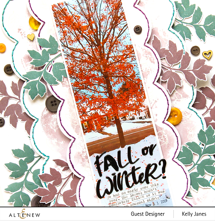 Altenew - 12x12 scrapbook layout using Dot Botanicals Stamp/Die - Kelly Janes