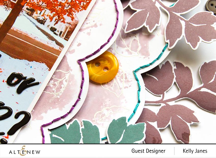 Altenew - 12x12 scrapbook layout using Dot Botanicals Stamp/Die - Kelly Janes