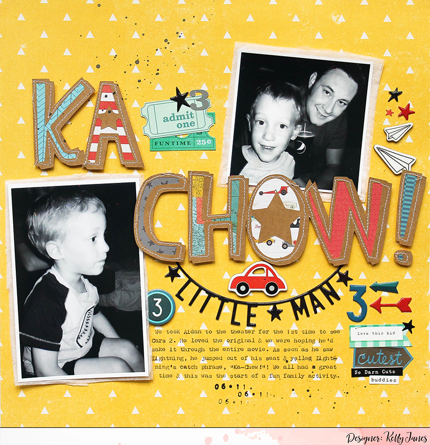 12x12 boy layout using the Crate Paper Cool Kid and Boys Rule Collection.