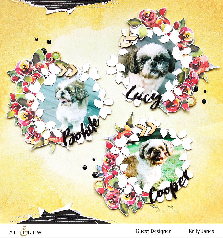 Altenew July 2020 New Release - 12x12 scrapbook layout using Altenew Reflection Scrapbook Collection & Nest Wreaths Creative Cutouts.